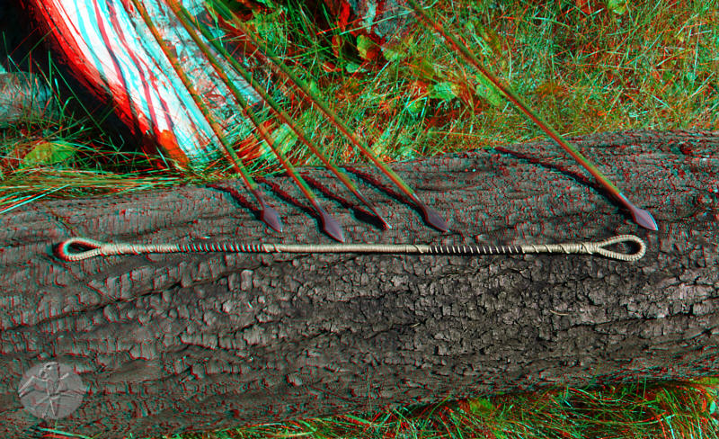 mediaeval style crossbow string in 3D (red-cyan anaglyph)   © Falk 2010