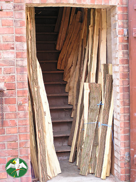 Locust and Maple staves from the 2007 harvest are waiting for their seasoning.    © Falk 2007
